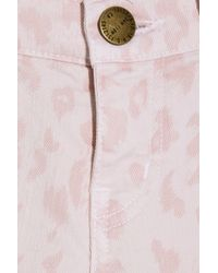 Current/Elliott Pink The Stiletto Leopard-print Low-rise Skinny Jeans