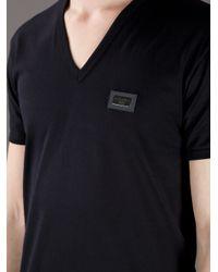 Dolce & Gabbana Black Vneck Tshirt for men