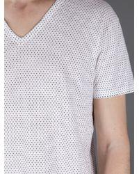 Dolce & Gabbana White Polka Dot Vneck Tshirt for men