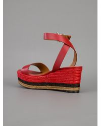 Fendi Red Wedge Sandal
