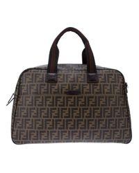 Fendi Brown Zucca Weekender Bag for men