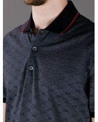 Gucci Black Printed Polo Shirt for men
