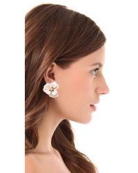 Kenneth Jay Lane White Oversized Flower Earrings