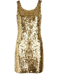 Moschino Metallic Pailletteembellished Crepe Mini Dress