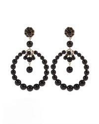 Oscar de la Renta | Black Beaded Circular Earrings | Lyst