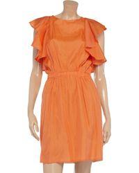 See By Chloé Orange Ruffled Silk-Gauze Dress