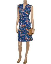 Tucker Blue Floralprint Silk Crepe De Chine Dress
