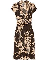 Tucker Brown Floralprint Stretchsilk Dress