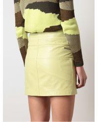 McQ Yellow Zipped Leather Miniskirt