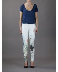 Mother White The Looker Printed Skinny Jeans
