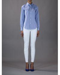 Ralph Lauren Blue Label Blue Striped Button Down Shirt