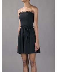 RED Valentino Black Strapless Mini Dress