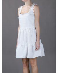 RED Valentino White Sleeveless Lace Trim Dress