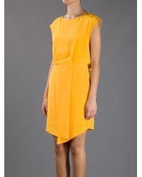 Tibi Yellow Drape Dress
