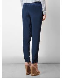 Vince Blue Relaxed Silk Trousers