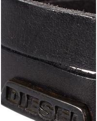 DIESEL - Black Asofe Leather Bracelet for Men - Lyst