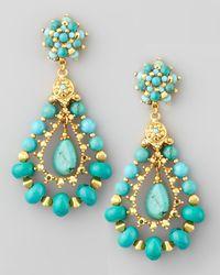 Jose & Maria Barrera | Blue Turquoise Beaded Teardrop Clip Earrings | Lyst