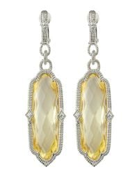 Judith Ripka Metallic Chelsea Canary Crystal Earrings