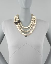 Kate Spade | Black Bowdetailed Pearl Necklace | Lyst