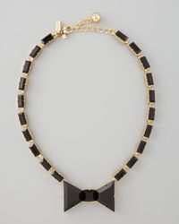 Kate Spade - Black Crystal Bow Necklace - Lyst