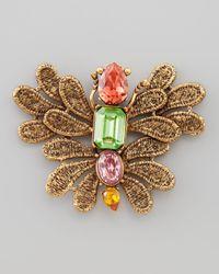 Oscar de la Renta - Multicolor Cast Lace Butterfly Brooch - Lyst
