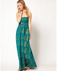 Ralph Lauren - Green Printed Bandeau Maxi Dress - Lyst