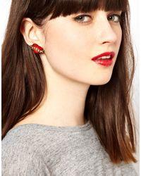 Tatty Devine - Red Enamel Love Earrings - Lyst