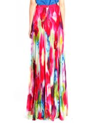 Alice + Olivia Pink Shannon Pleated Maxi Skirt in Jungle Floral