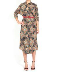 Alice + Olivia Brown Tani Shirt Dress with Belt Antique Floral Print