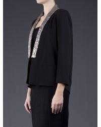 Helene Berman Black Sequined Tux Jacket