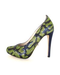 Jerome C. Rousseau Susanne Blue and Green Sequin Heel