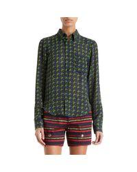 KENZO Blue Basket Weave Print Blouse