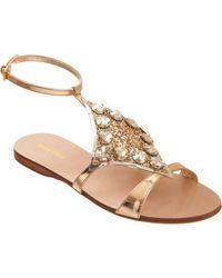 Miu Miu Metallic Embellished Slingback Sandal