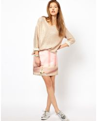 Paul by Paul Smith Pink Pencil Skirt in Digital Bunny Print