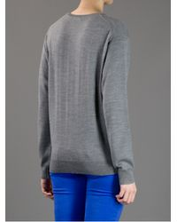 Peter Jensen Gray Badger Intarsia Sweater