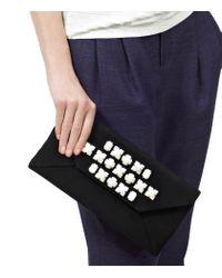 Reiss Black Noelle Embellished Envelope Clutch