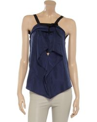 Roland Mouret Blue Retty Draped Silk Top