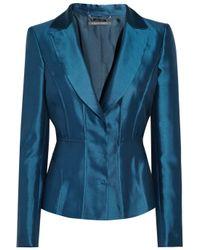 Alberta Ferretti Blue Shantung Silk-blend Blazer