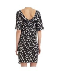 Balenciaga Black Letters and Numbers Print Short Sleeve Dress
