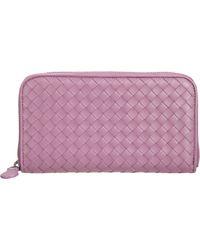 Bottega Veneta Purple Intrecciato Zip Around Wallet