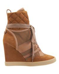 Chloé Brown High Top Wedge Sneaker