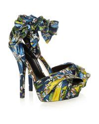 Dolce & Gabbana Blue Printed Brocade Clog