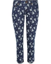 J.Crew Blue Toothpick Printed Mid-rise Skinny Jeans