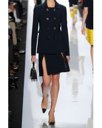 Michael Kors Blue Wool-blend Aline Skirt