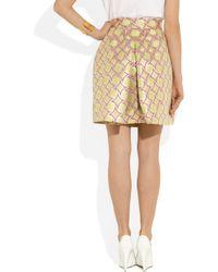 Boutique Moschino Green Metallic Cottonblend Jacquard Skirt
