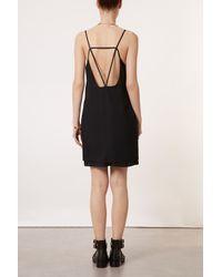 TOPSHOP Black Strap Back Slip Dress