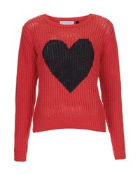TOPSHOP Red Heart Handknit Sweater