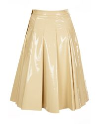 TOPSHOP Natural Patent Leather Pleat Skirt By Jw Anderson For Topshop