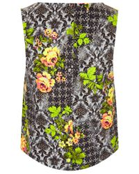 TOPSHOP Multicolor Sleeveless Leaf Print Shell Top