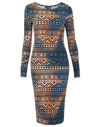 TOPSHOP Multicolor Tie Dye Aztec Print Midi Dress